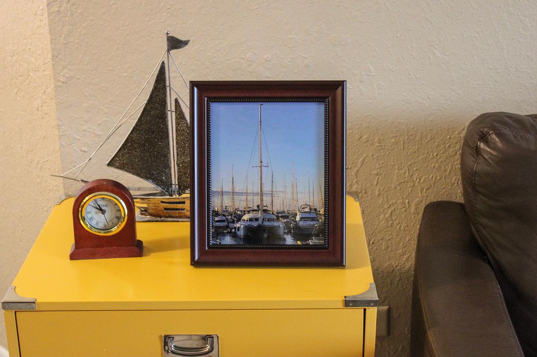 Sailboats in Mahogany Frame